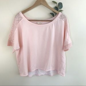 Blush Pink Lace Panel Sleeve Terry Cotton Top